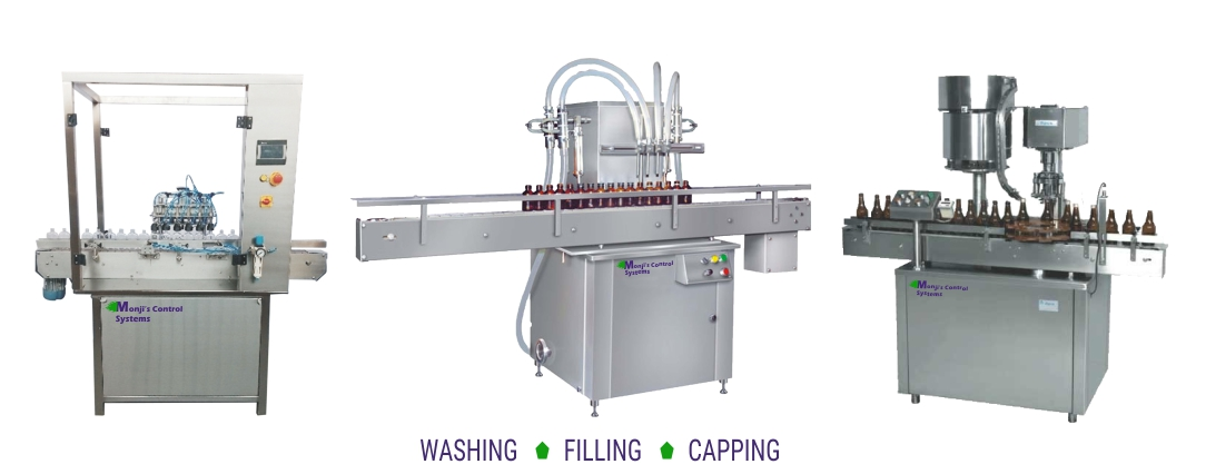 Washing, filling and capping machine